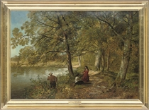 Figures fishing on a river bank