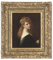 Portrait of a young lady, half-length, with a blue ribbon in her hair