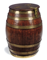 AN OAK AND BRASS BOUND BARREL