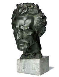 A BRONZE BUST OF A MAN