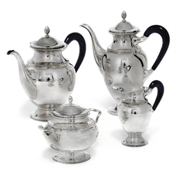 A FOUR-PIECE SWISS METALWARE T