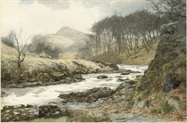 A romantic landscape:  A river in spate
