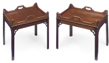 A PAIR OF MAHOGANY TRAY TOP LO