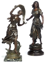 TWO FRENCH SPELTER ALLEGORICAL