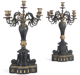 A PAIR OF FRENCH BLACK-MARBLE,