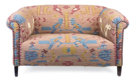 A KILIM UPHOLSTERED CHESTERFIE