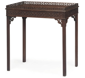 A MAHOGANY SILVER TABLE