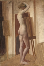 Standing female nude in a studio; and Standing female nude