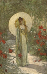 A young girl with a parasol in
