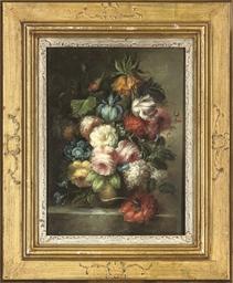 Iris, roses, parrot tulip and