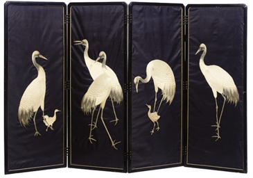 A JAPANESE SILKWORK AND BLACK