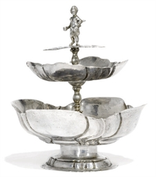 A GERMAN SILVER TWO-TIER SUGAR