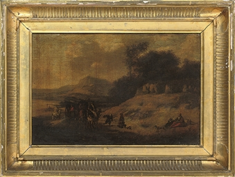 A landscape with travellers at