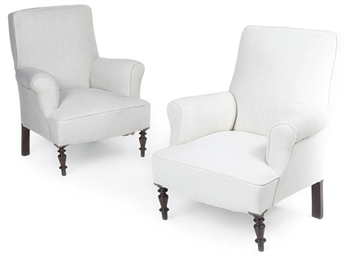 A PAIR OF BEECH ARMCHAIRS