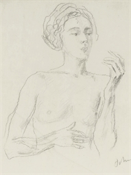 Study of a female nude with he