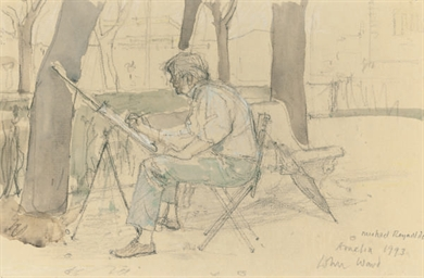 An artist sketching in the ope