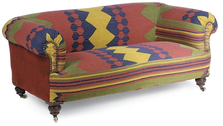 A LATE VICTORIAN KILIM UPHOLST