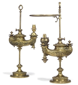 A Pair Of German Cast Brass Table Oil Lamps By Wild And