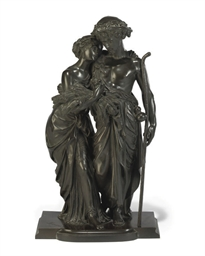 A FRENCH BRONZE GROUP OF A HAR