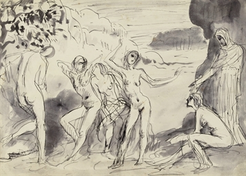 Figures dancing in a landscape
