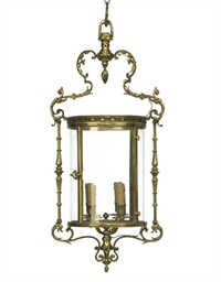 A FRENCH GILT BRASS CYLINDRICA