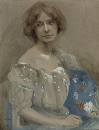 Portrait of a woman with a blu
