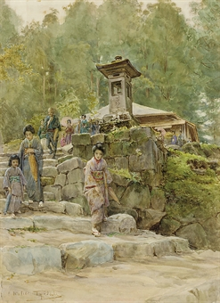Japanese figures leaving a shrine