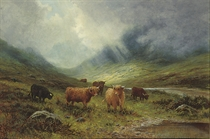 A Highland landscape with cattle beside a river