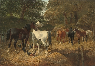 Hens and horses by a stream