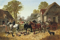 Draught horses and a cart, with figures, pigs and a goat in a farmyard, cows in a pasture beyond