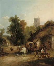 A landscape with travellers ou
