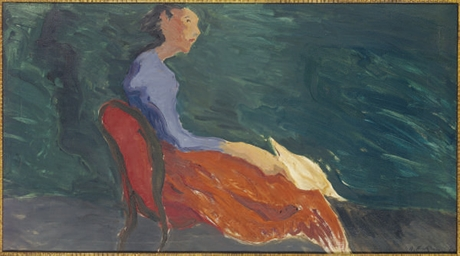 Girl in a red chair; and a com