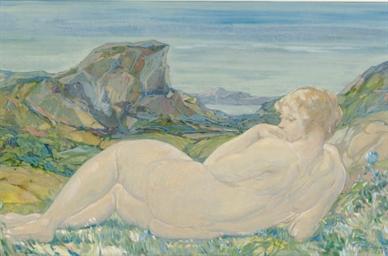 Reclining nude in a landscape;