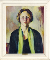 Portrait of a lady with a green scarf