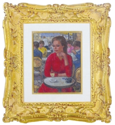 Marie-Lize en rouge, au Café d