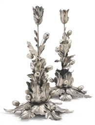 A PAIR OF ITALIAN SILVER TULIP