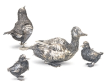 A GROUP OF FOUR ITALIAN SILVER MODELS OF BIRDS,