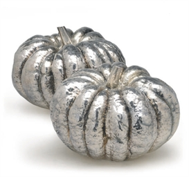 A PAIR OF SILVER-PLATED PUMPKI