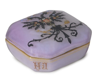 A FRENCH ENAMELED GLASS BOX AN