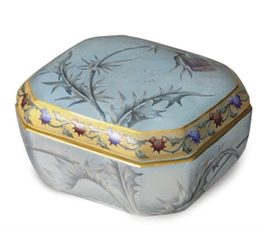 A FRENCH ENAMELED AND GILT GLA