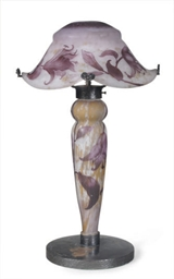 A FRENCH CAMEO GLASS LAMP WITH