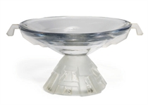 A FRENCH CARVED GLASS FOOTED BOWL,