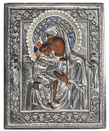 A RUSSIAN SILVER METAL ICON OF
