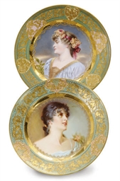 TWO VIENNA STYLE PORTRAIT PLAT