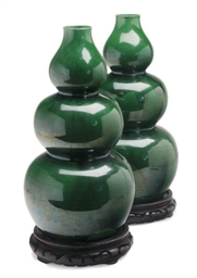 A PAIR OF CHINESE GREEN GLAZED