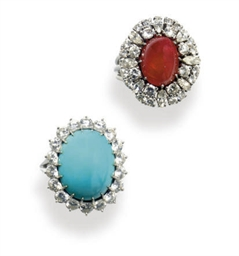 A GROUP OF TURQUOISE, RUBY, DI