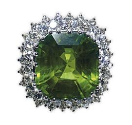 A PERIDOT, DIAMOND AND 18K WHI