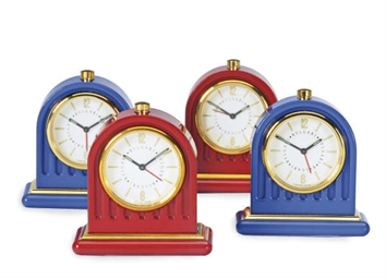 A GROUP OF ENAMEL DESK CLOCKS,