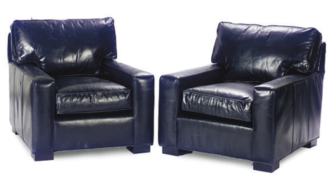 A PAIR OF BLUE LEATHER UPHOLST