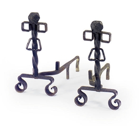 A PAIR OF WROUGHT-IRON ANDIRON